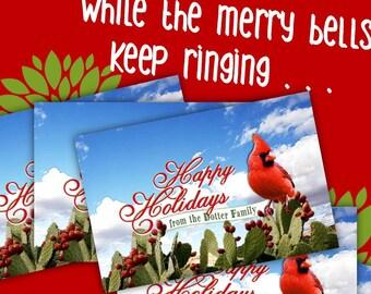 Personalize Happy Holidays Photo Postcard, Wild Cactus Bloom, Desert Cardinal, Handmade Custom Card, Choose 4x6 or 5x7