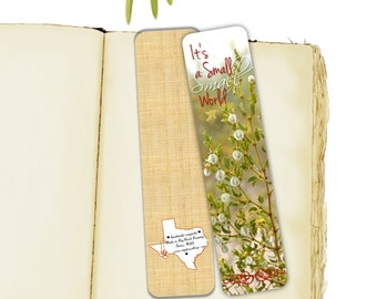 Wildblumen-Foto-Lesezeichen, ist es eine kleine kleine Welt, Frühlings-Blüte, Kreosot, Wüste Texas handgemacht 7.25 x 2 breit