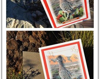 Bird Greeting Card, Desert Roadrunner, Personalize Handmade Nature Card with Kraft envelope and sticker