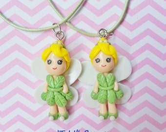 Handmade Tinkerbell Fairy Pendant Necklace Girls Kids Resin Clay Jewelry