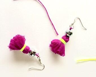 Neon purple tassel earrings