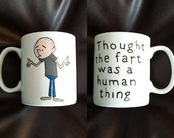 Hand Painted mug inspired by Karl Pilkington