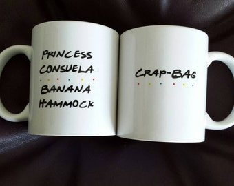 Set of 2 his and hers hand painted mugs inspired by Friends