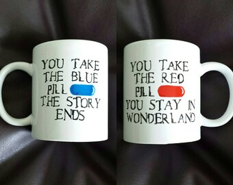 Hand painted mug inspired by the matrix