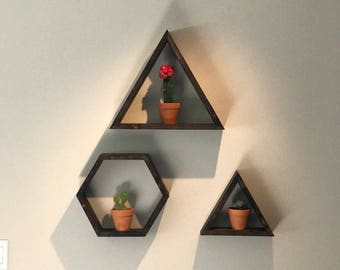 Wooden Geometric Shapes (3) Wall Decor