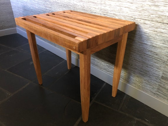 Astounding Slatted Stool Iroko Wood Machost Co Dining Chair Design Ideas Machostcouk