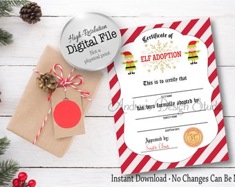 elf adoption certificate adopt an elf holiday printable christmas printable christmas tradition instant download digital files - Elf Adoption Certificate Template