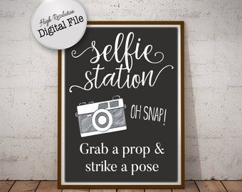graphic relating to Selfie Station Sign Free Printable identified as Selfie station indication Etsy