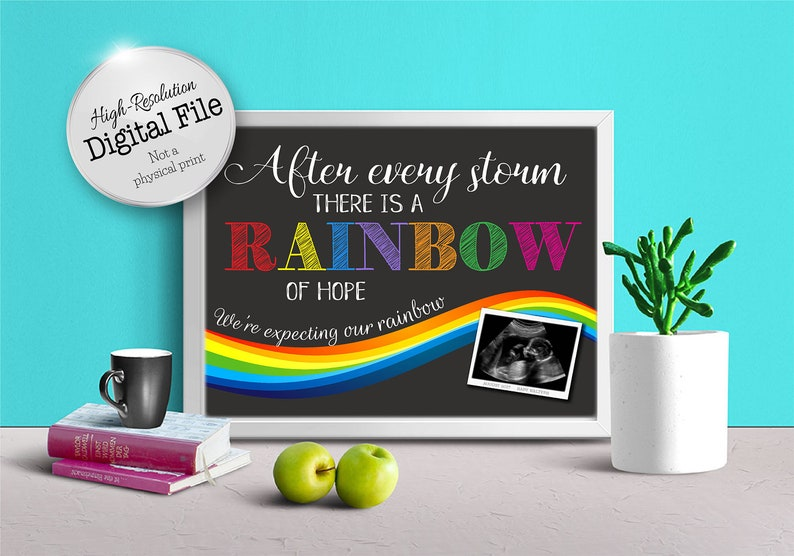 Rainbow Baby After Every Storm Chalkboard Style There Is A Rainbow Of Hope Digital Print Photo Prop Baby Pregnancy Announcement