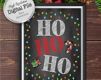 Ho Ho Ho Christmas Print, Christmas Printables, Christmas Decoration, Christmas Typography Art, Instant Download, Digital Prints