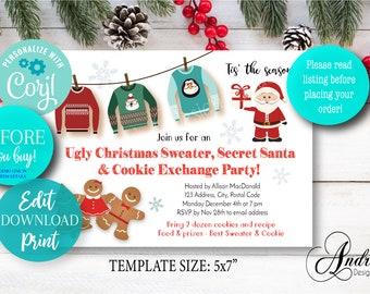 EDITABLE Cookie Exchange, Ugly Sweater, Secret Santa, Party Invite, Christmas Printables, Christmas Invite, Editable Digital Files
