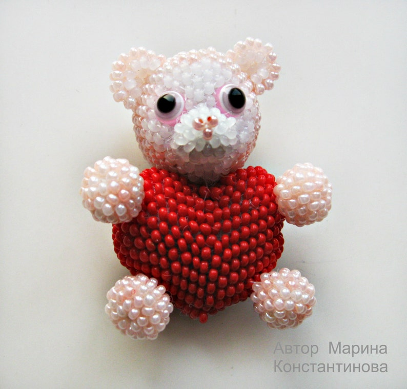 INSTANT DOWNLOAD pdf Bear Pattern a bear  Tutorial bear Bead toys How make a bear Bear bead How to a bear Beaded bear pattern
