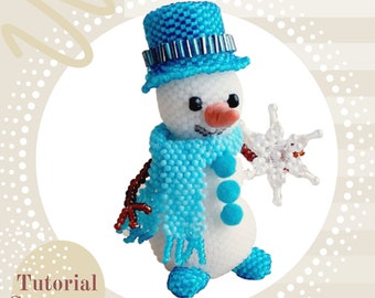 Pattern a Snowman/Tutorial How to make a beaded stuffed Snowman for Christmas Dimensional beadwork Beading instruction toys E-Book bead PDF