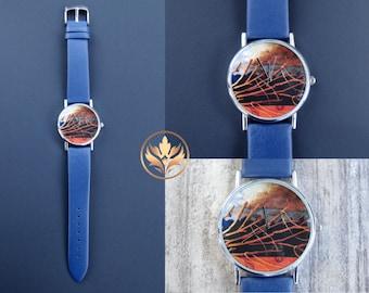 Art Watch with Blue Leather Watchband, Unisex Watch, Women's Watch, Men's Watch, Branches Watch, Clouds Watch, Storm Watch, Ocean Watch, BFA