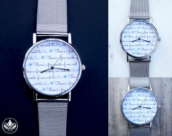 Blue Fire Watch with Silver Mesh Watchband, Slogan Watch, Script Watch, Unisex Watch, Women's Watch, Men's Watch, Stainless Steel Mesh, Gift