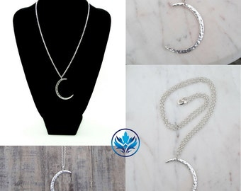 Matte Silver Moon Crescent Necklace, Mother's Day Gift, Silver Moon Necklace, Moon Crescent, Stocking Stuffer, Secret Santa Gift, Christmas