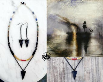 Peace - Burial at Sea Jewellery Set, Art Inspired Jewelry Set, Arrowhead Coral & Obsidian Jewellery Set, Unique Jewelry, Christmas Gift, Art