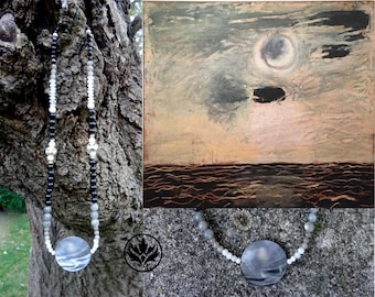 Moon Over Water Necklace, Paterson Ewen Inspired Necklace, Mother of Pearl & Labradorite Necklace, Bone Necklace, Christmas Gift, Moon Phase