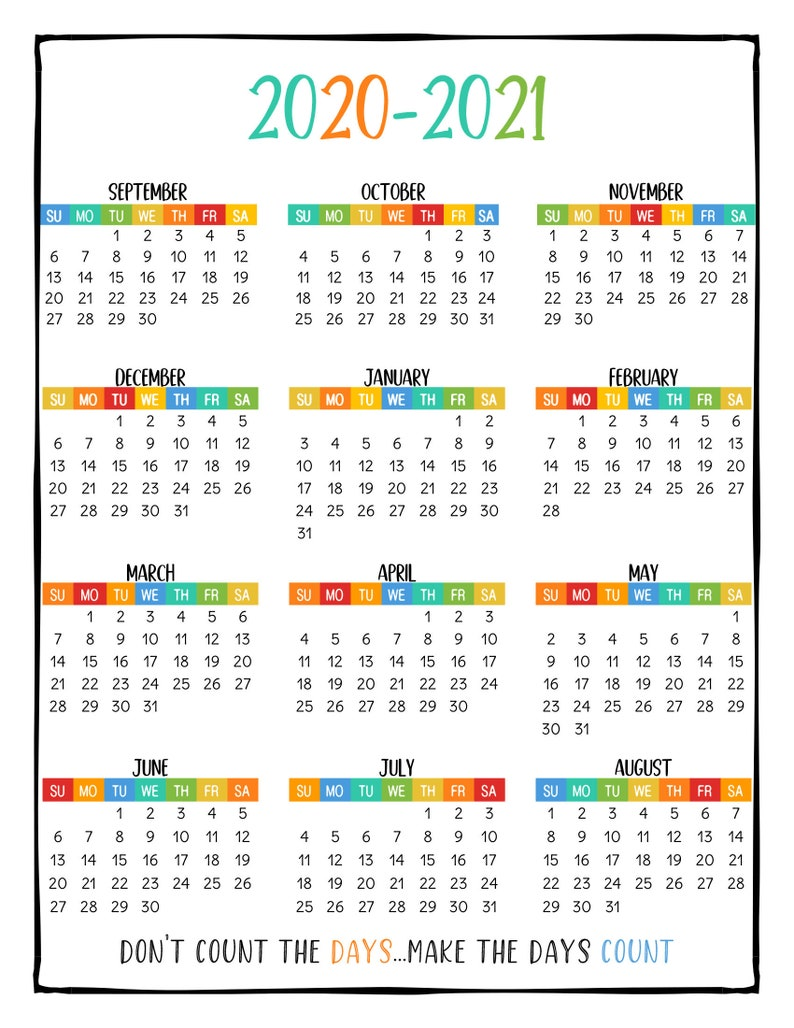 PRINTABLE School Year Calendar At a Glance 2020-2021 Wall ...