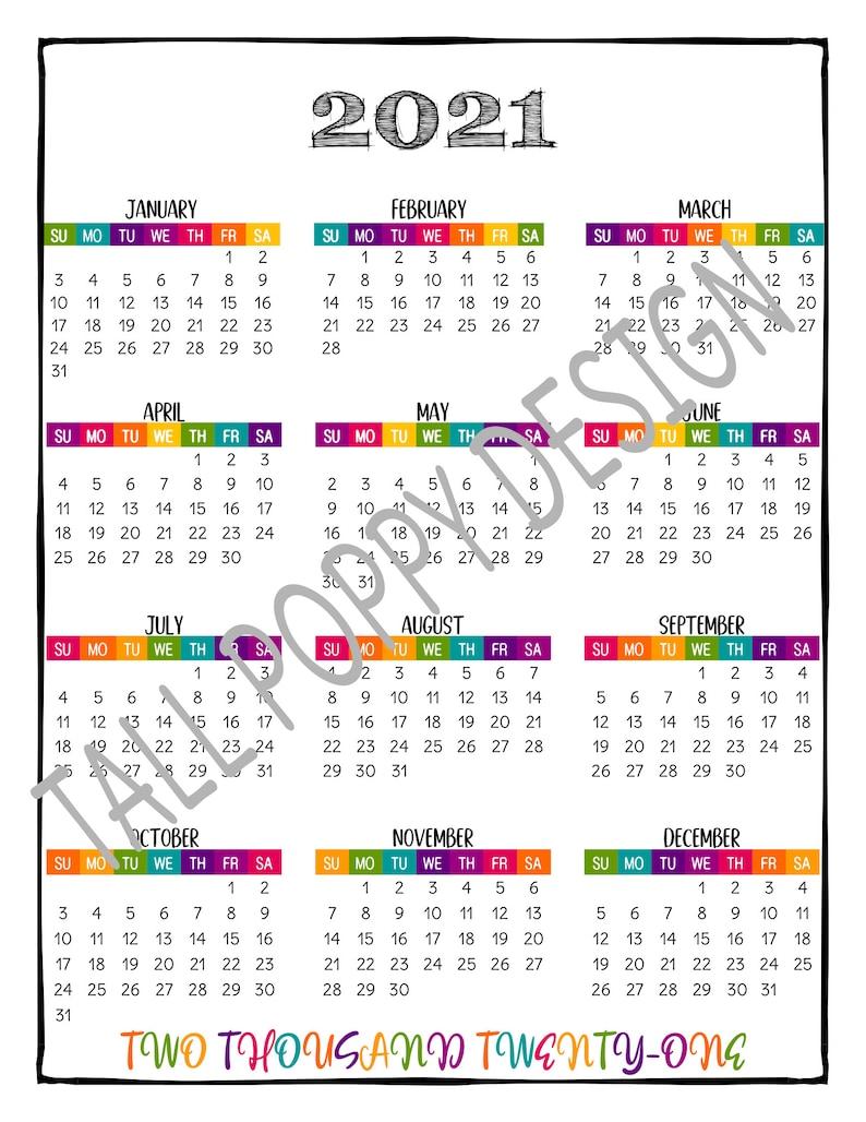 2021 PRINTABLE At a Glance 2021 Wall Calendar / Big ...