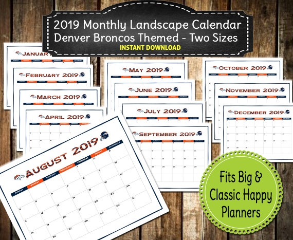 picture relating to Denver Broncos Printable Schedule titled 2019 PRINTABLE Denver Broncos Themed Calendar / 2019 Wall Calendar Calendar / Substantial Joyful Clic Planner / 12 Thirty day period - Instantaneous Down load