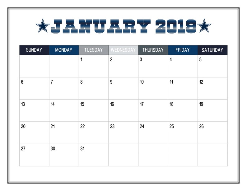 photograph relating to Dallas Cowboys Printable Schedule named 2019 PRINTABLE Dallas Cowboy Themed Calendar / 2019 Wall Calendar Calendar / Significant Pleased Clic Planner / 12 Thirty day period - Fast Obtain