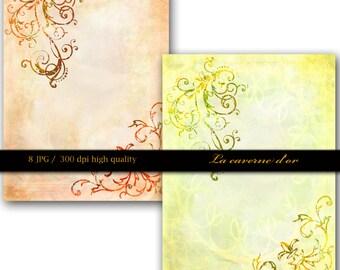 8 files A4 paper scrapbooking, immediate download, card making, Invitation Design, Art Journal, Scrapbooking