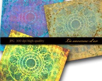 Oriental paper scrapbooking, immediate download, card making, Invitation Design, Art Journal, Scrapbooking