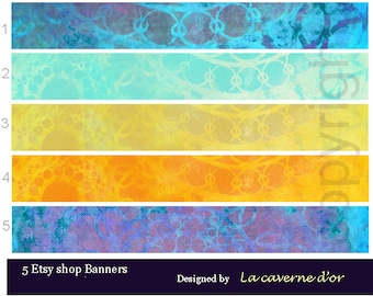 Etsy shop banners, Banners Eastern Etsy, Digital Download: 5 JPG inside