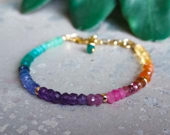 Rainbow Bracelet, Rainbow Beaded, Minimalist Bracelet, Colorful Stone, Ombre Beaded, Dainty Stacking, LGBT, Faceted Bracelet, multi stone