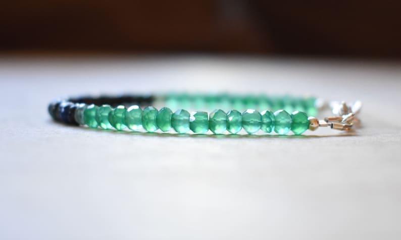 Healing Crystal Bracelet Green Shaded Gradient Gemstone Green Onyx Azurite Bracelet Ombre Beaded Onyx Bracelet Green Stacking Bracelet