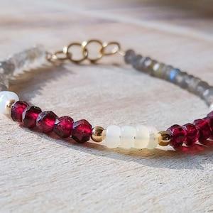 Bohemian stacking Opal Garnet bracelet Labradorite Garnet,Birthstone bracelet Stackable Beaded Elegant Dainty red and white Summer