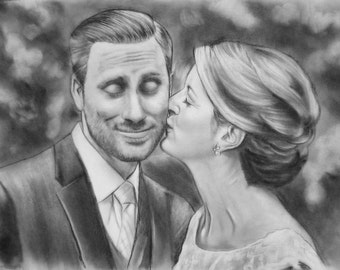 Personalized Portrait, custom couple portrait, charcoal drawing, Couple Portrait, realistic sketch, Custom Portrait