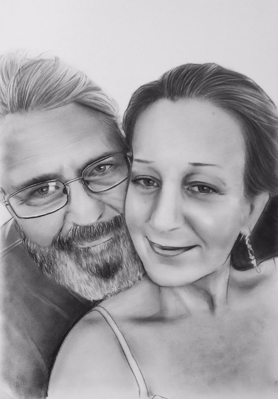 Wedding Portrait  Charcoal Pencil Portrait from Photo  Gift for her  Fine Art Portrait  Anniversary or Wedding present