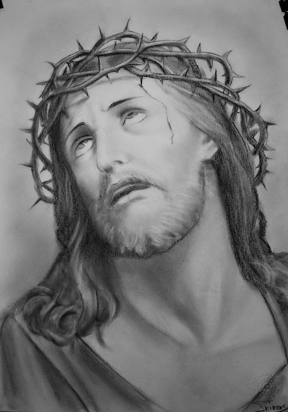 jesus drawing custom jesus christ charcoal portrait christian etsy