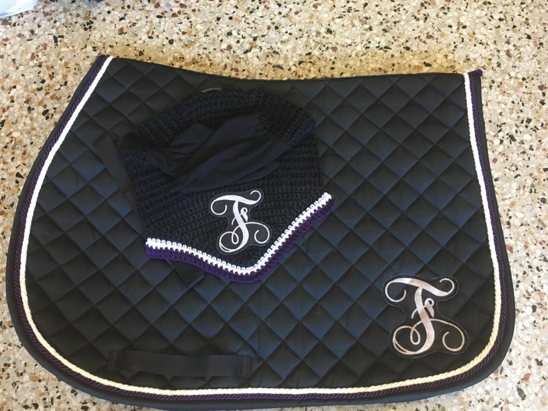 Custom Two Color Saddle Pad and Bonnet Set