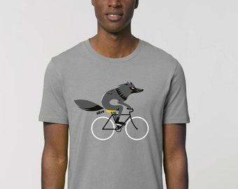 T-Shirt Männer Wolf Fahrrad T-Shirt Wolf Shirt