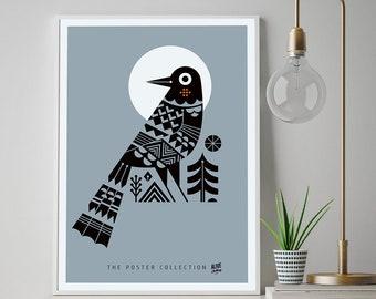THE CROW Kunstdruck Print Poster Fine Art DIN A2 42x59,4 Wanddeko, Bild, Artwork, Krähe, Retro, Krähe Poster
