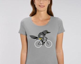 T-Shirt Frauen Wolf Fahrrad T-Shirt Wolf Shirt