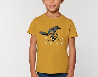Kinder T-Shirt Wolf Fahrrad Wolf Kind Kids Wolf T-Shirt