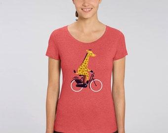 T-Shirt Frauen Giraffe BIKING GIRAFFE T-Shirt Girls
