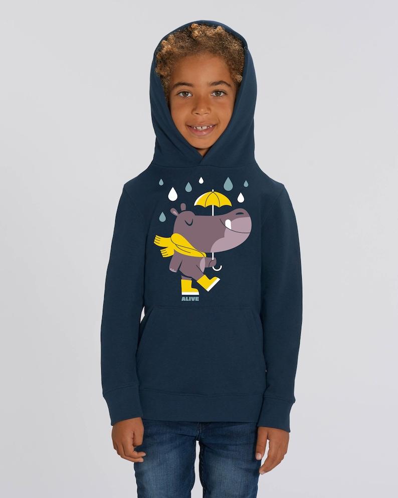 Hippo in the Rain Hoody Kids Jungs Mädchen Nilpferd Hippo image 0