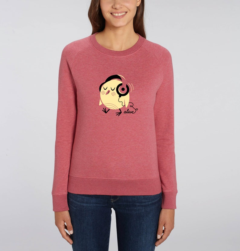 BIRDY HEADPHONES Pullover Sweatshirt Girls Vogel Motiv Bird image 0