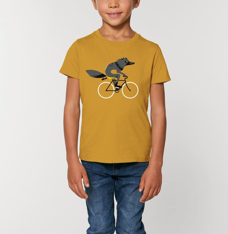 Kinder T-Shirt Wolf Fahrrad Wolf Kind Kids Wolf T-Shirt image 0