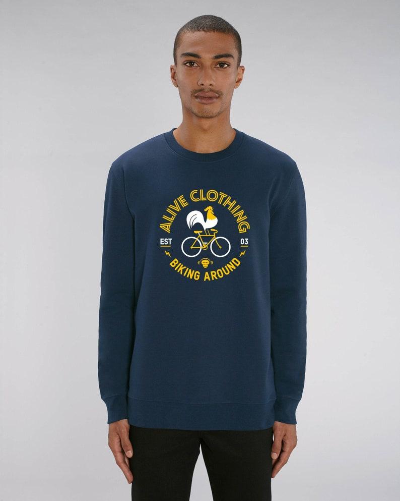 BIKING LOGO Sweatshirt Boys navy Fahrrad tee bike shirt image 0