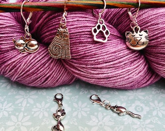 Cat on Moon Progress Keeper crochet gift Cat on Moon Stitch Marker knitting jewellery knitting gift
