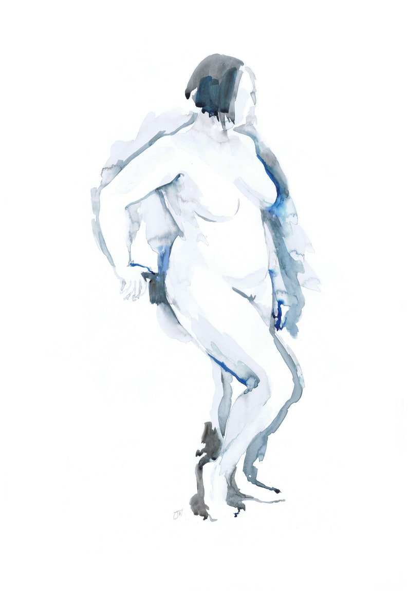 Standing Nude blue wash nudes watercolour limited edition image 0