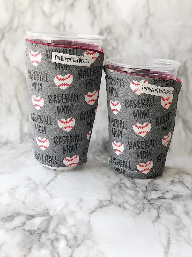 Baseball Mom insulated fabric iced sleeve coffee image 0