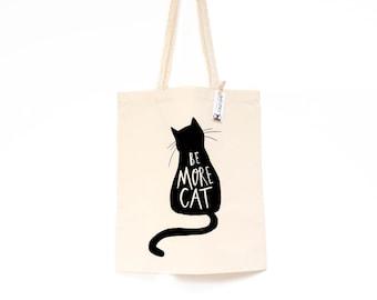 a3500d7a793 Be more cat tote bag • Cat bag • black cat bag • cat shopper