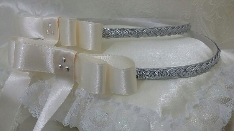 PILLOW Handmade Orthodox Wedding Crowns  Tiaras SILVER Wreath Greek STEFANA